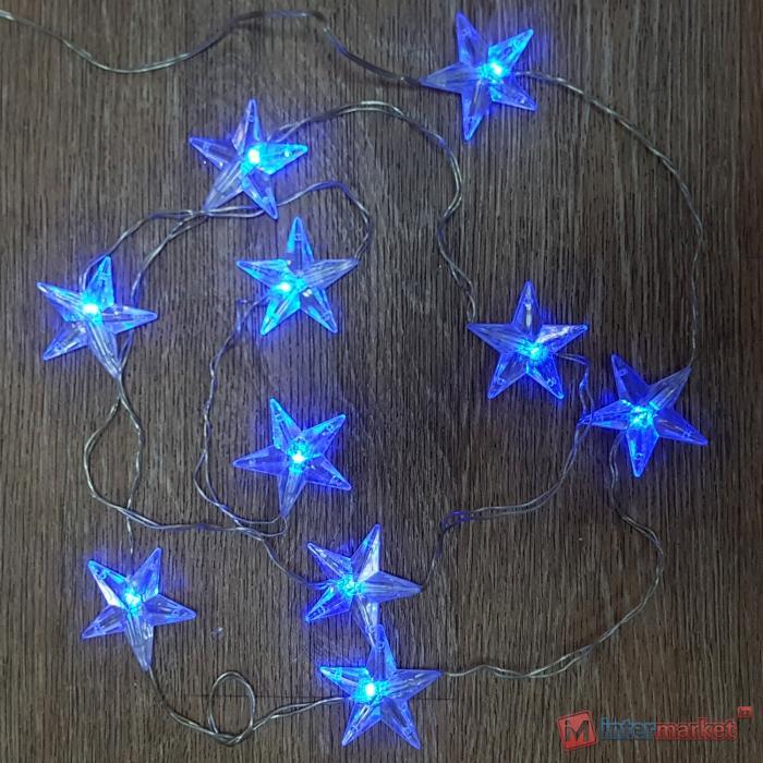 Гирлянда цепочка 2м голубая Звезды кабель прозрачный 3м 10диодов LED indoor